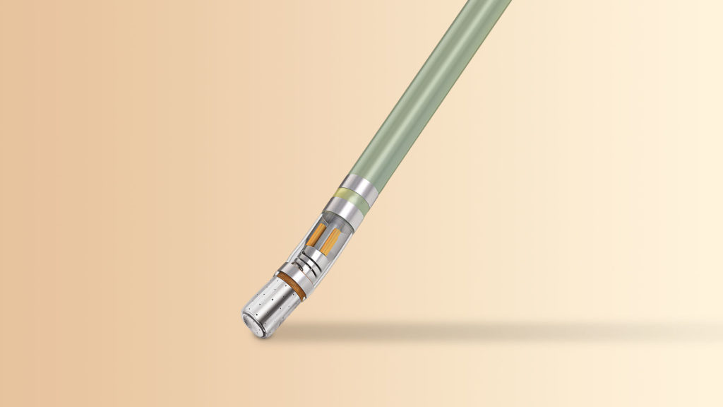 tip of the THERMOCOOL SMARTTOUCH SF Catheter over a light background